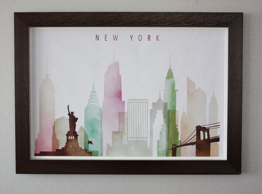 La ciudad de nueva york pintura sobre el lienzo, famoso city view impresión abstracta, marcos de madera decoración de la pared