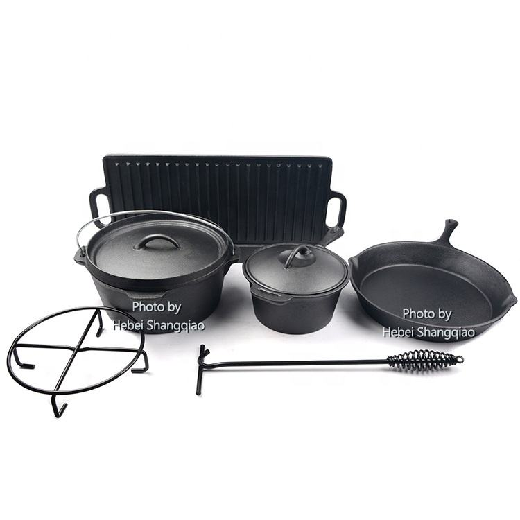 High Quality Outdoor Camping Cooking Set 7 pieces Heavy Duty Cast Iron Cookware Set