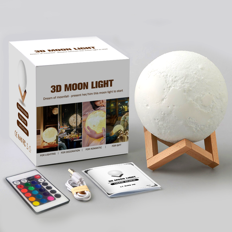 Latest 8/12/15/18/20/24cm Romantic Gift 3D Magical LED Lunar Night Light Moon Lamp Desk USB Charging Touch Remote Control lamps