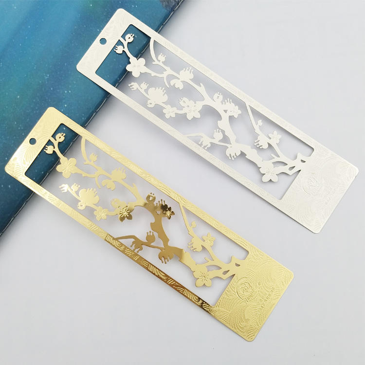 Custom wholesale Laser cut metal bookmarks for books