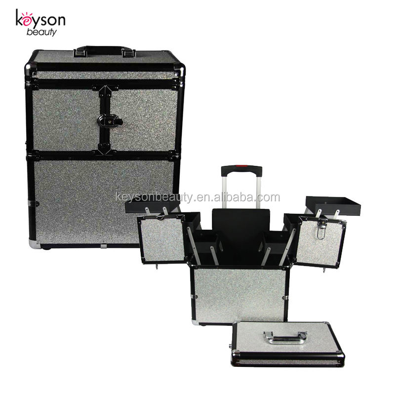 Keyson ABS In Alluminio Bling Stilista di Capelli Professionale Beauty Case Trolley