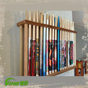 Custom wood music instrument display,unique drumstick holder wholesale,compartment wall mount 18 pairs drumstick storage rack