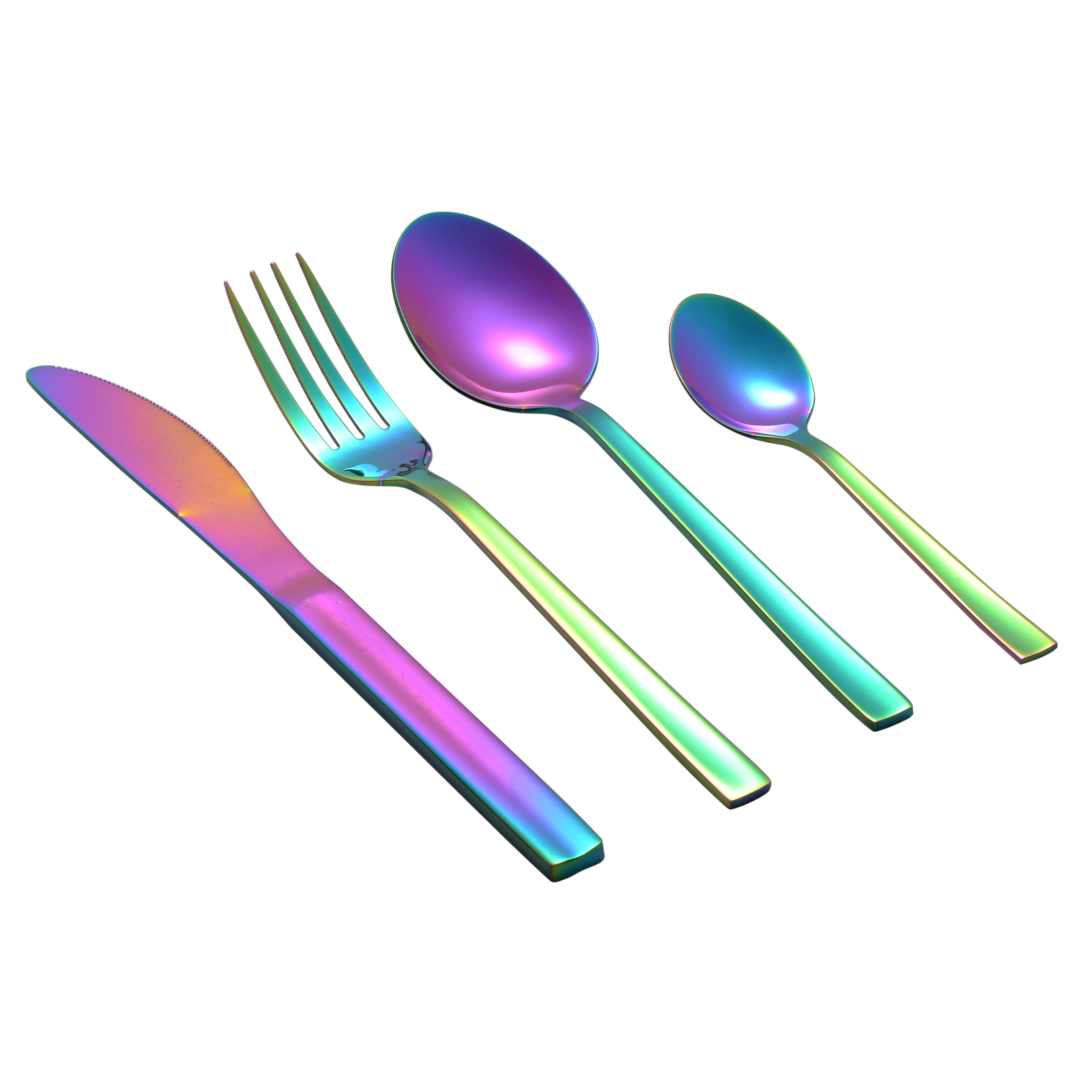 New products 16 Pcs/set Different Kinds Of Flatware Set Silverware Rainbow Color Cuttlery Set