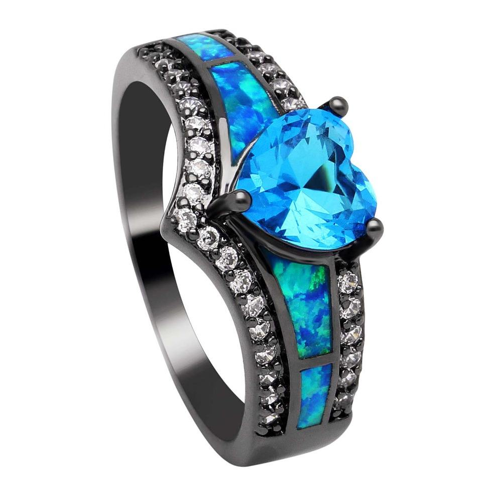 Hainon YIWU Charming Opal Ring Colorful Jewelry Black Gold Filled Engagement Rings
