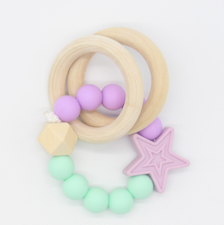 YDS New Arrival Silicone Baby Training Teething Toys with Beech Wood Silicone Beads Toy