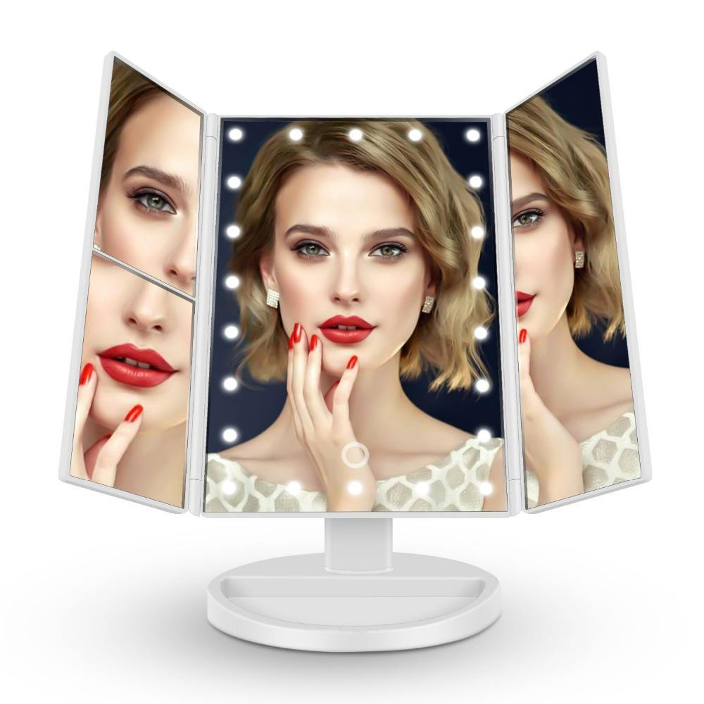 Private Label Vanity Led Verlichte Reizen Make-Up Spiegel Desktop Folding Make Up Spiegel Met Verlichting