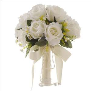 Ramo de la boda blanco boda flores artificiales decorativas flor Artificial Flor de rose