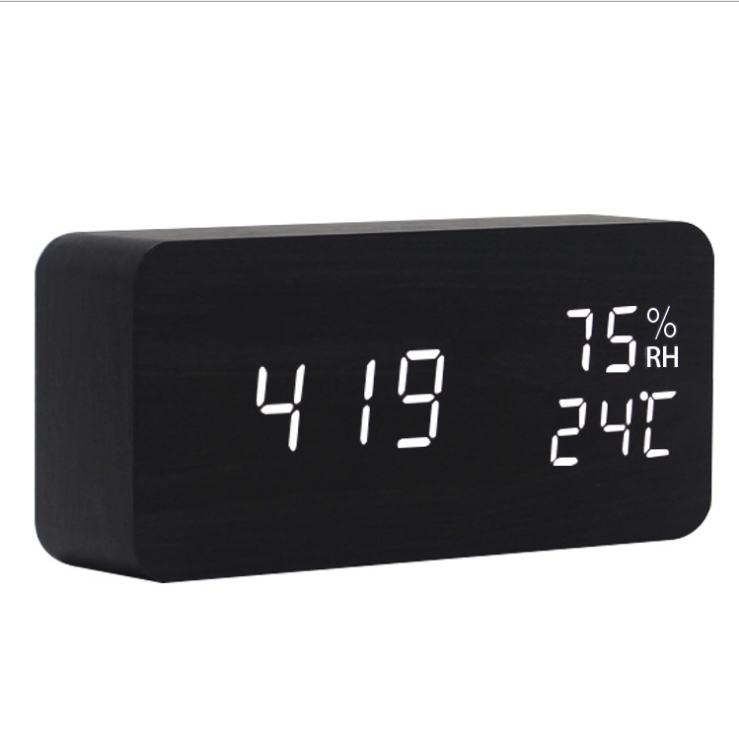 Amazon Hot Sale Desktop digital LED wooden table clock and alarm clock with temperature display