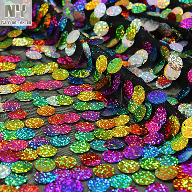 Nanyee Textile Rainbow/Silver Hologram Big Dangling Sequin Fabric