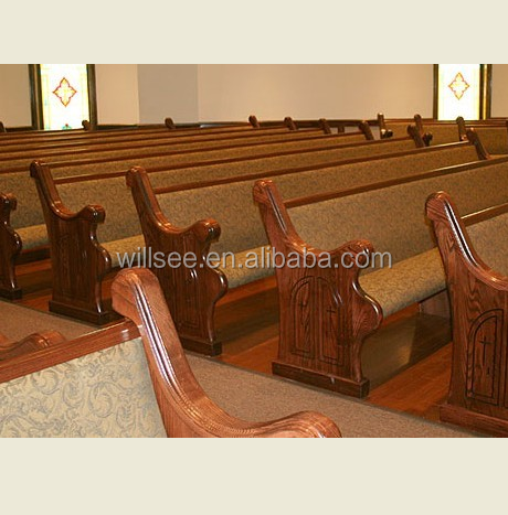 CH-B068, Wooden Church Pew With Beautiful Pew End
