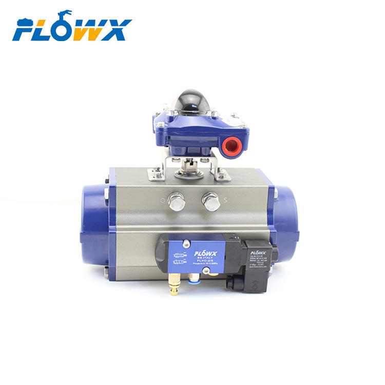 Aluminum Alloy Spring Return Double Acting Air Torque Rack and Pinion Quarter Turn Pneumatic Rotary Actuator