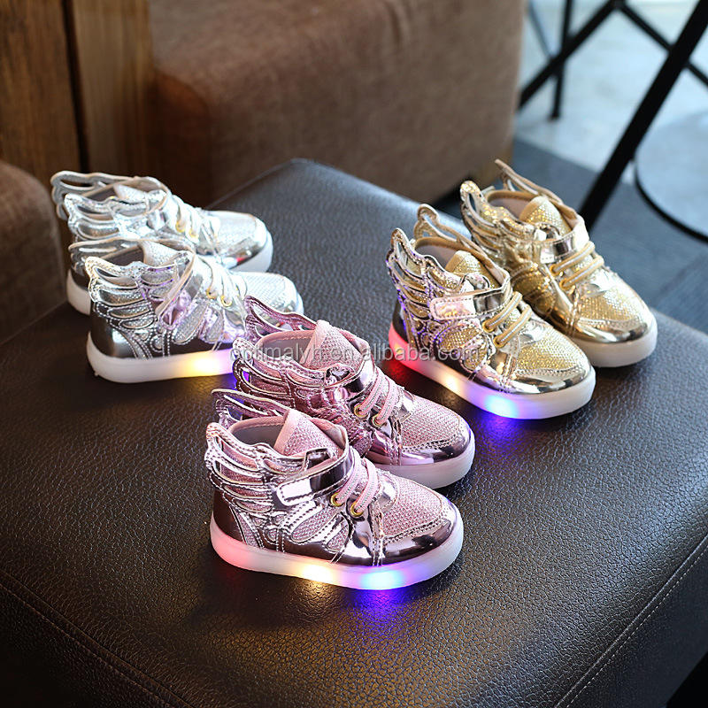 Fashion Angel Wings Kids Flash Schoenen Led Licht Loopschoenen Met Led