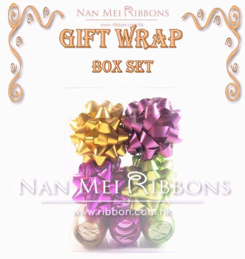 Christmas Wrapping Box Set star bow ribbon egg Assorted Happy Color PP Matte Metallic Fancy Decoration