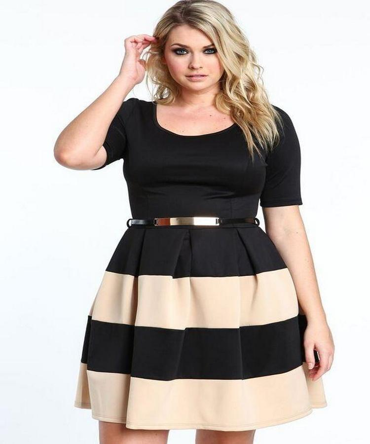 Factory direct summer women's new style plus size striped lantern dress