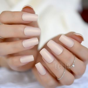 Instant Fake Nails Matte Iridescent Natural Pink Square Fake Nails Ladies Slim Long Designed Artifical Nail Tips
