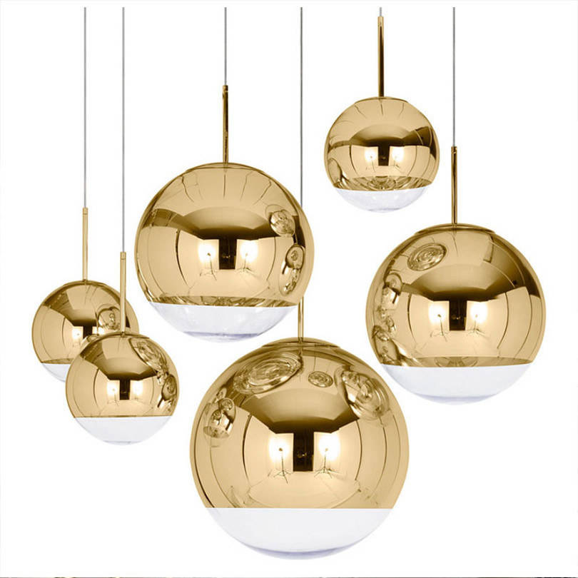Wonderland Modern Sliver Shade Gold Mirror Light E27 LED Pendant Lamp Modern Christmas Glass Ball Chandelier Lighting