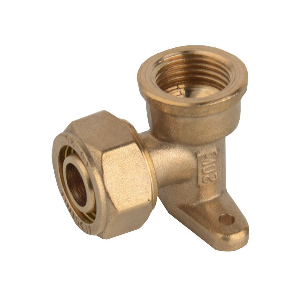 B107 PEX-Al-Pex pipe fittings Brass compression drop ear elbow fitting for alum-plastic hose female seated elbow