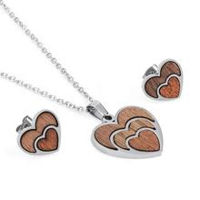 Yiwu Aceon Stainless Steel New Design Popular Necklace Earring Stud Heart Wood Jewelry Set