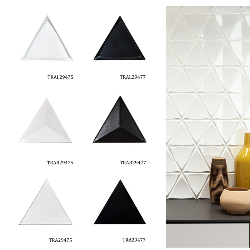 Concave and Convex 3D Big Triangle Creamic Wall Tile Living Room Bedroom Kitchen Backsplash Colorful Decorative Triangle Tile