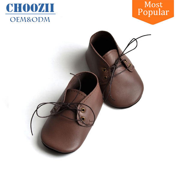 Choozii Manufacturer Direct Sell 0 - 24 Months Brown Soft Sole Oxford Baby Shoes for Toddlers