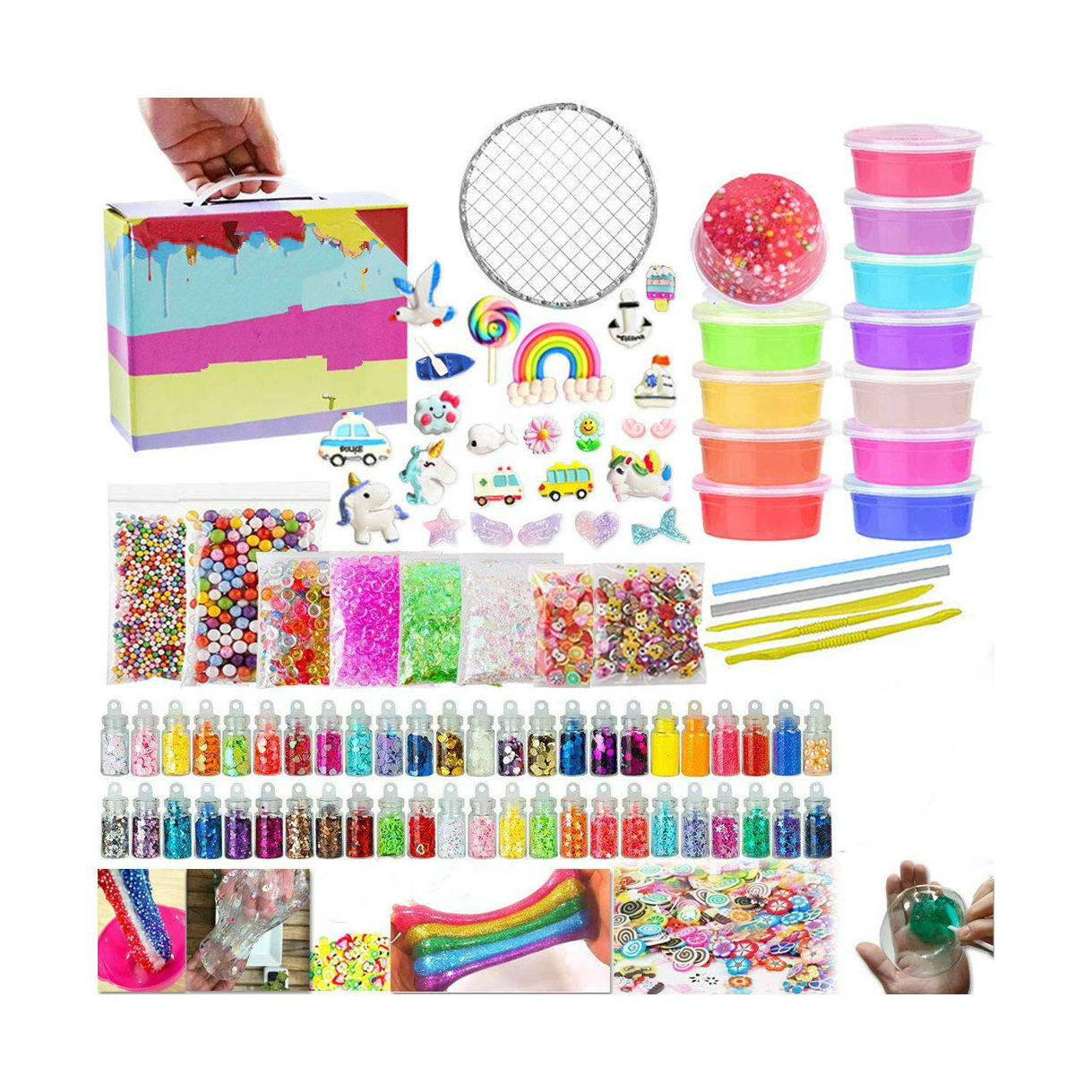 Custom DIY slime making kit educational toy diy -includes crystal clear slime, chanrms, foam balls etc.