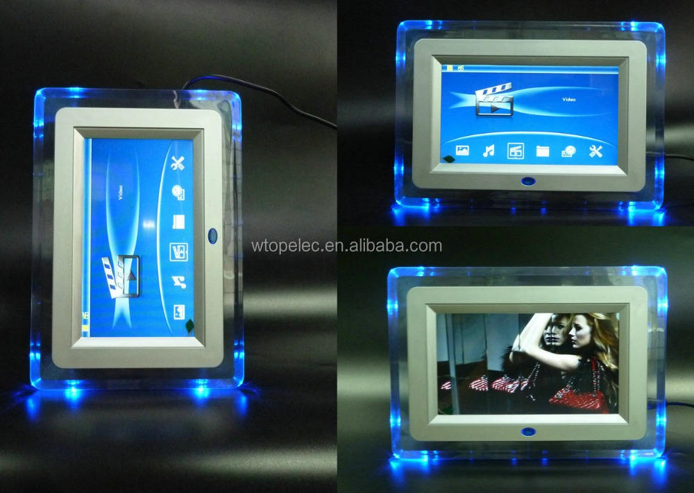 7 polegadas Acrílico Digital Photo Frames com 4pcs LED blue light & suporte de vídeo 1080p