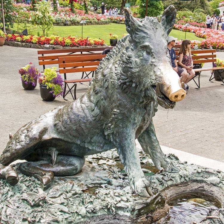 Al aire libre parque famoso tallado artesanía de Metal de la vida Animal de tamaño de bronce jabalí estatua