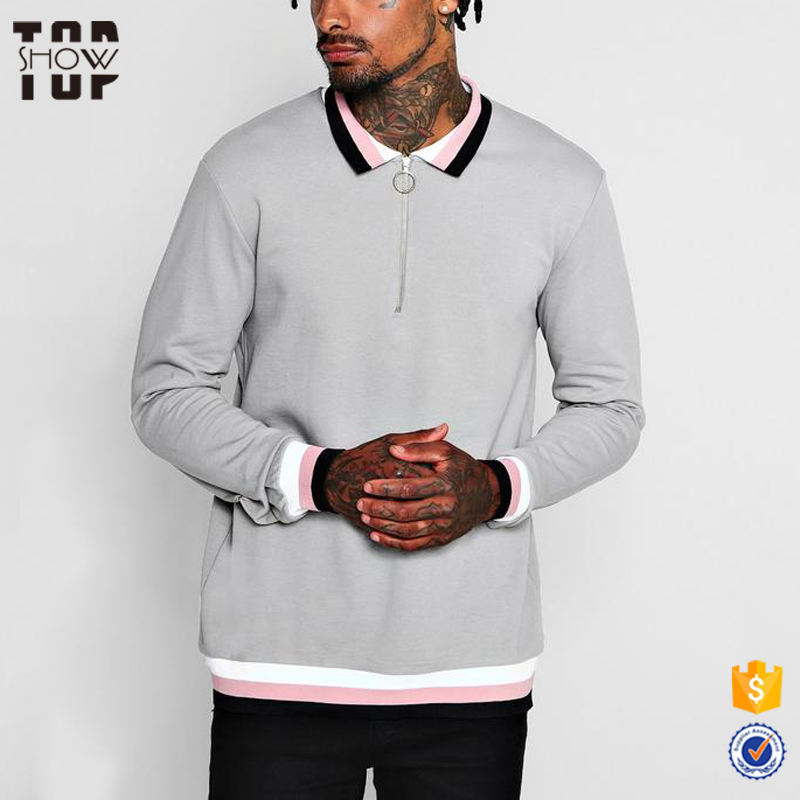 OEM garment factory polo neck french terry plain sweatshirt with half zip