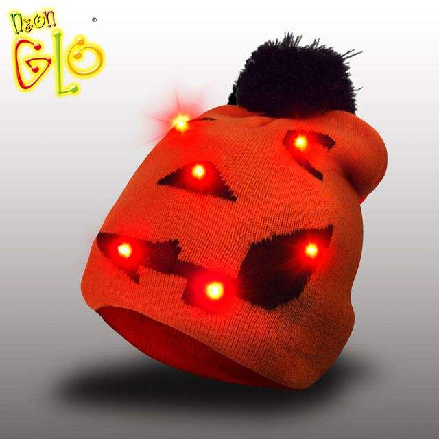 Orange novelty 2020 party favor assortment led light knit hat for Halloween