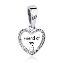 Authentic 925 Sterling Silver Charm Friend of My Love Charm Bead with Zircon for Women Romantic Valentine's Day Gift