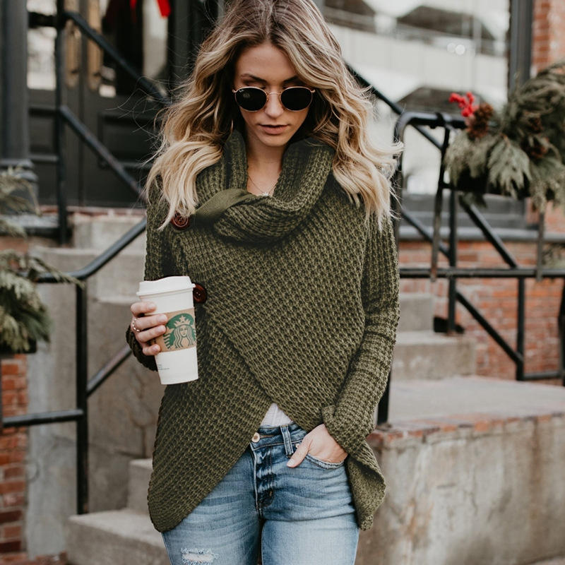 Women Knitted Loose Button High Neck Pullover Tops Boutique Clothes Irregular Sweaters Turtleneck Sweater Cardigan