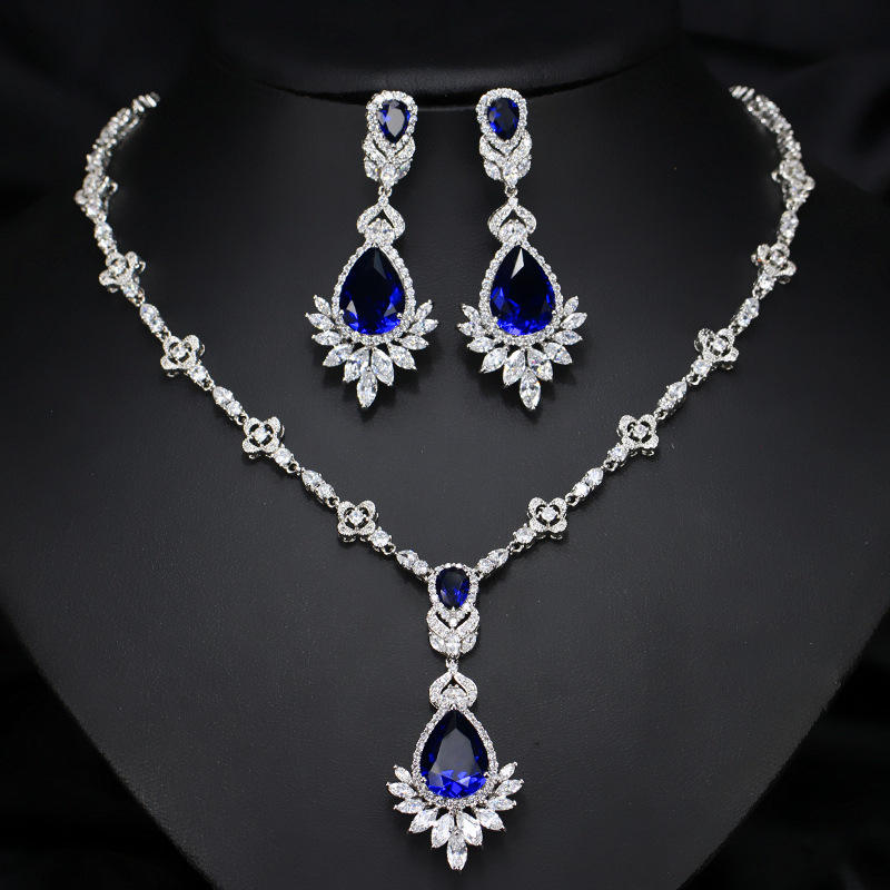 Top Quality Luxury Vintage Blue Zircon Earrings Necklace Jewelry Sets for Women