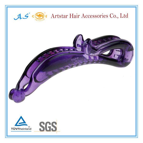 mariposa de color púrpura de banano de pelo clip con resorte