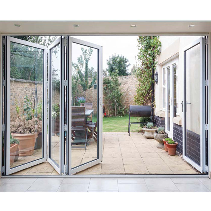 Transparent Low E Glass Folding Patrition Door Aluminum Soundproof Sliding Folding Interior Bi-fold Door folding door