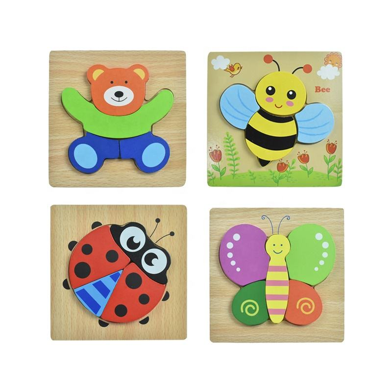 montessori Wooden jigsaw toy animal puzzles for toddlers