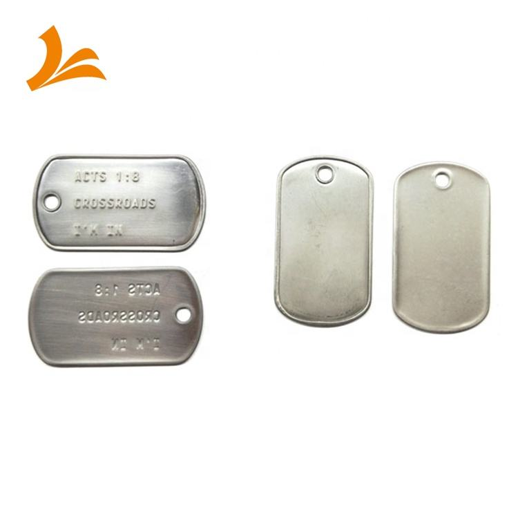 Direct Factory Price Stainless steel small medical alert dogtags blank military metal dog tag