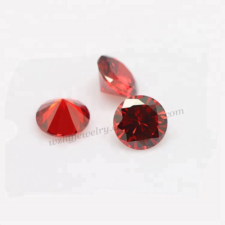 8mm round diamond cut garnet red synthetic cubic zirconia stone