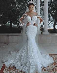 Sexy Luxury High Quality Ivory Beaded Sequined Wedding Dress Lace Appliques Bridal Gown with Sweep Train 2020 Bridal Gowns