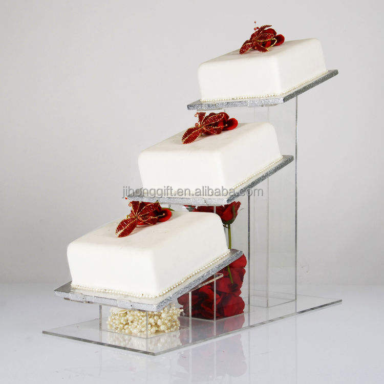Commercio all'ingrosso acrilico trasparente Cascade Angolato 3 Tier Piazza wedding cake Display Stand