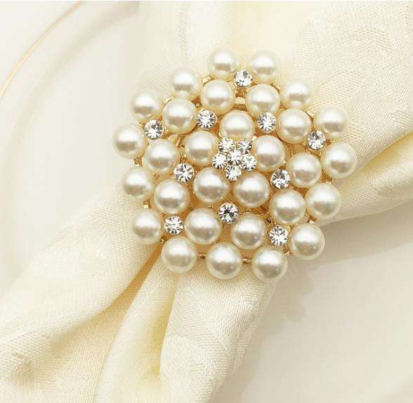 2019 Fashion Napkin Ring Wholesale Rhinestone Pearl Ring of Napkin