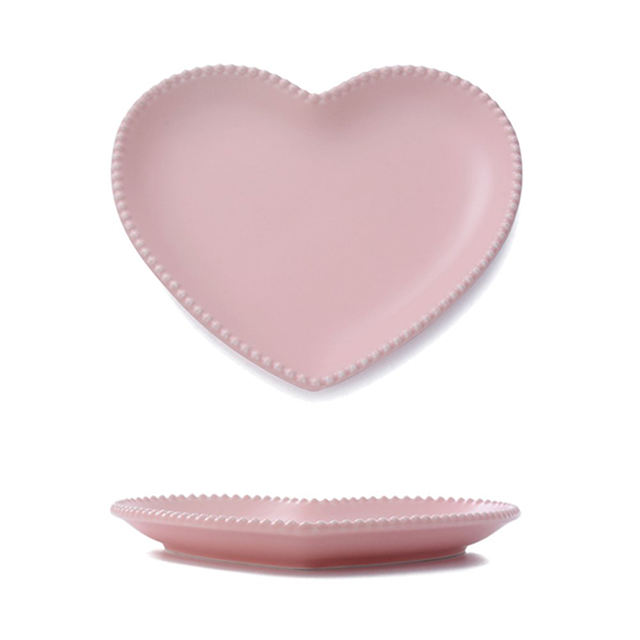 Elegant Ceramic Pink Heart Shaped Plate Valentine Day Gifts