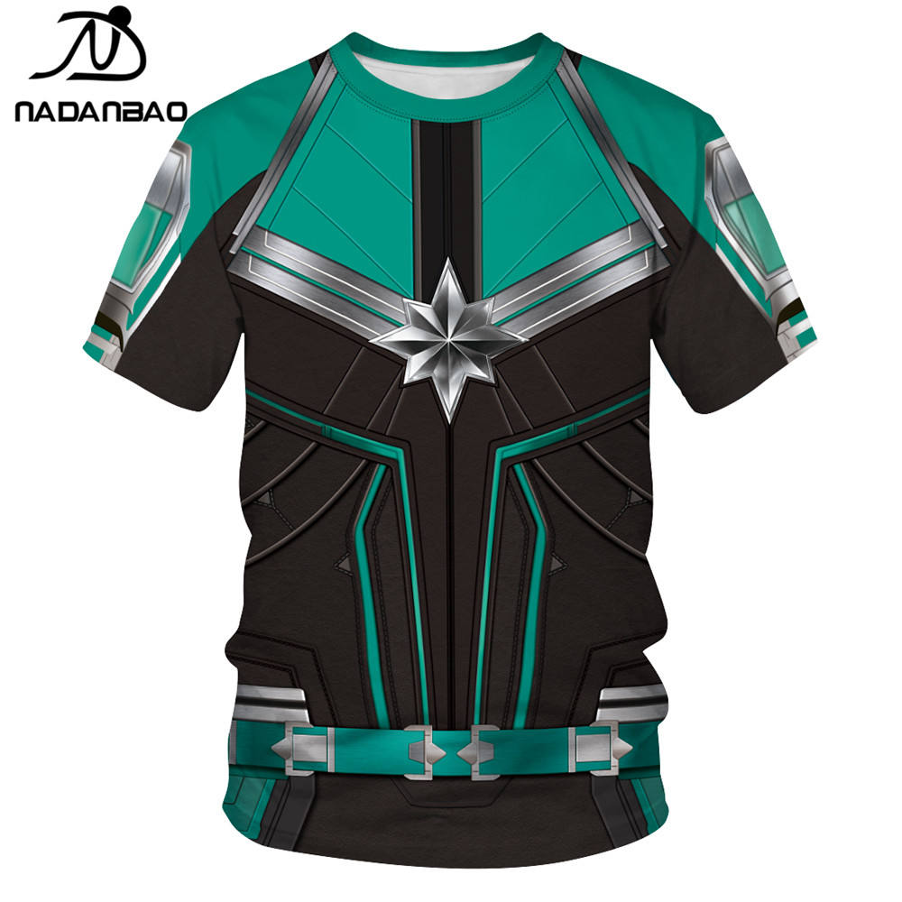 NADANBAO brand 2019 latest style high quality 3d printed captain marvel couple o-neck t-shirt