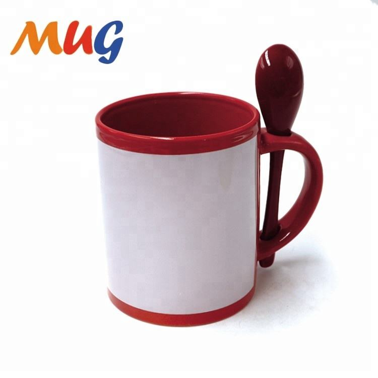 zibo factory wholesale best selling promotional 11oz sublimation Mug With Spoon white patch coated cup ceramic mug