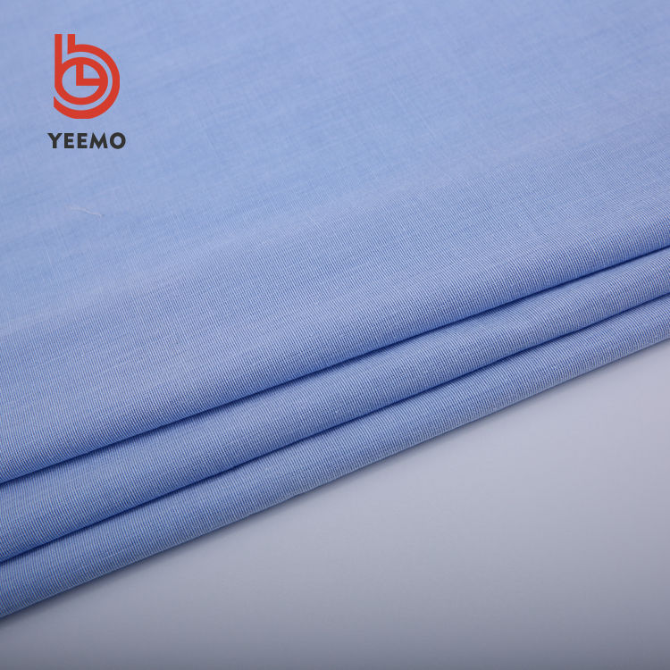 Yeemo textile soft handle blue shirt fabric woven cotton 85 cotton 12 polyester 3 spandex fabric for men