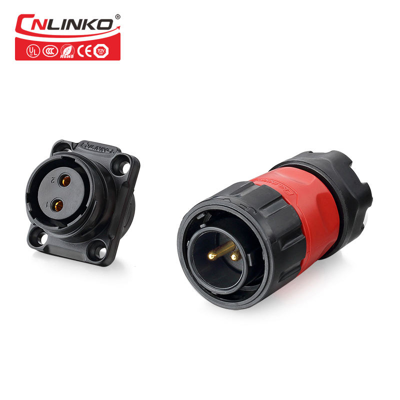 Xlr [ 2-pin Dc Plug Connector ] Plug Connectors CNLINKO Waterproof Panel Mount Modular Jack 2-Pin DC Plug Connector
