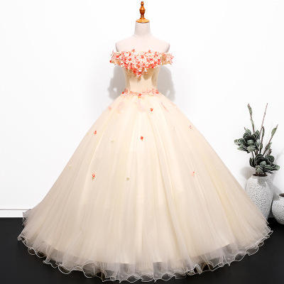 HQ178 Appliqued Flowers Ball Gown Quinceanera Dress Puffy Long Evening Party Dress Off Shoulder Tulle Yellow Prom Dress
