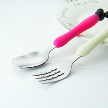 Non-slip Handle Stainless steel Baby Spoon Fork Set Children