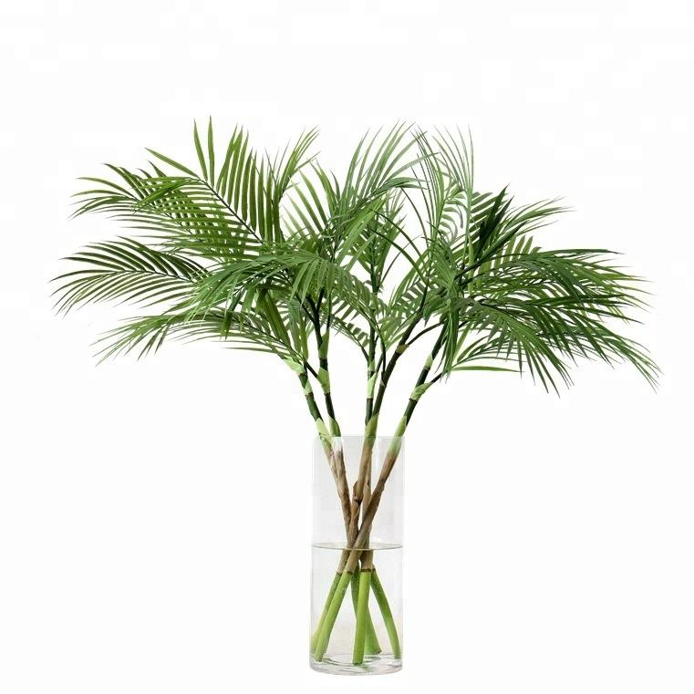 Home decoration green planting plastic flowers single artificial leaf artificial palm leaf
