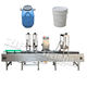 alcohol glue oil liquid water can bucket barrel weighing pump filler/ keg drum filling machine with roller conveyor