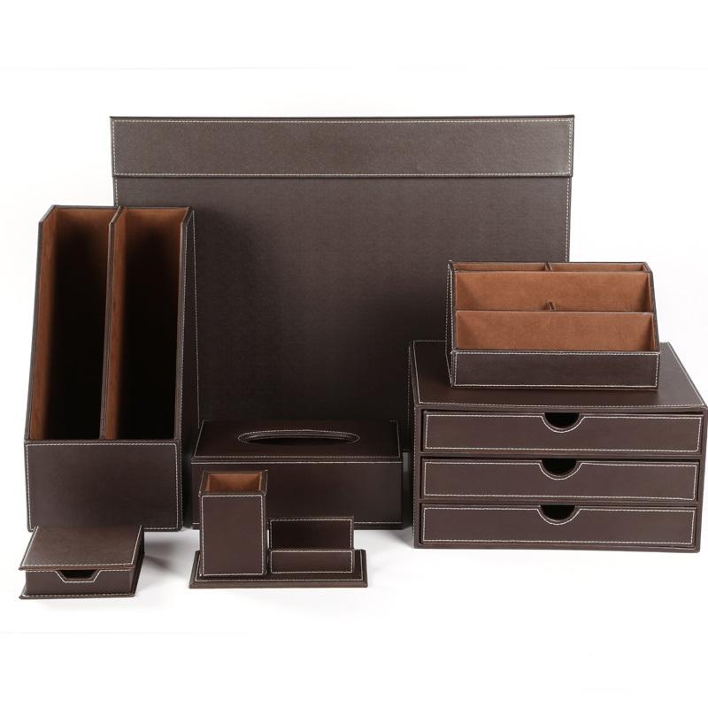 Office Supplies black desk organizer leather desk accessory set